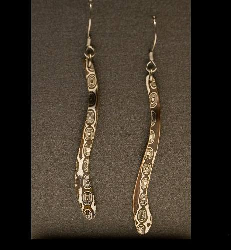 Mokume Gane Earrings- Long Dangle