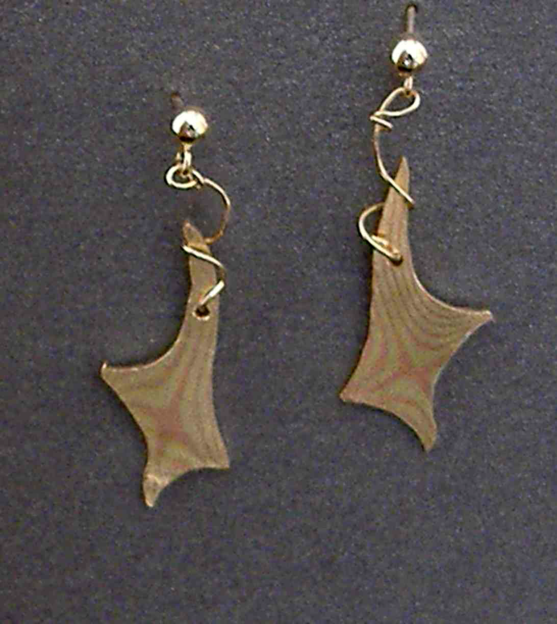 Star Mokume Copper, Brass and 14 K Gold Earrings
