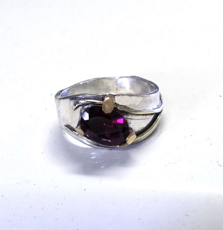 Garnet Elegance gold and silver ring