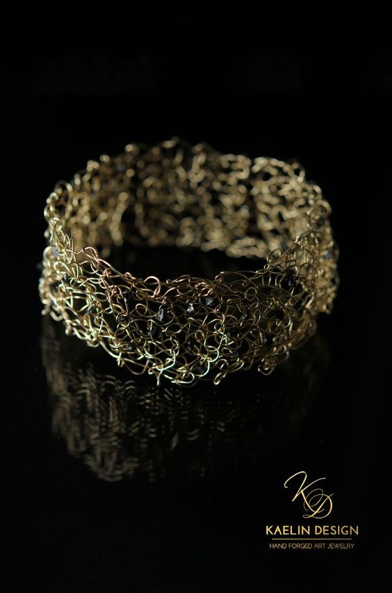 Gold Knit Cuff With Black Diamonds By Kaelin Design