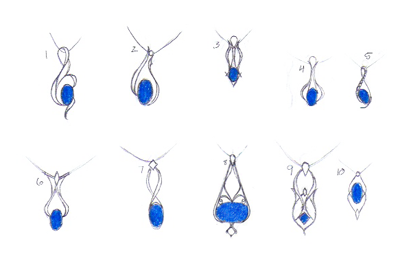 Custom Silver Pendants with Blue Sapphires
