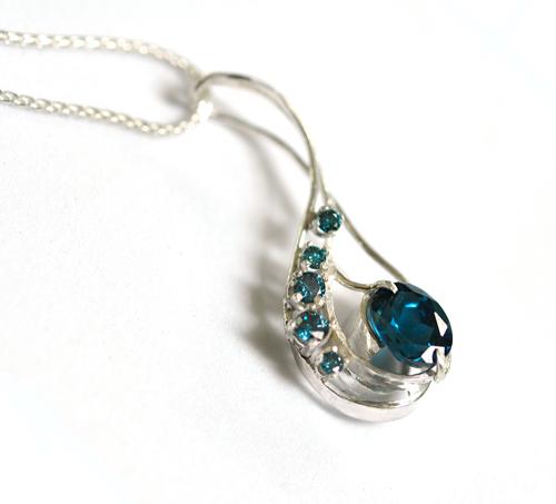 Something Blue Diamond and Topaz Custom Pendant