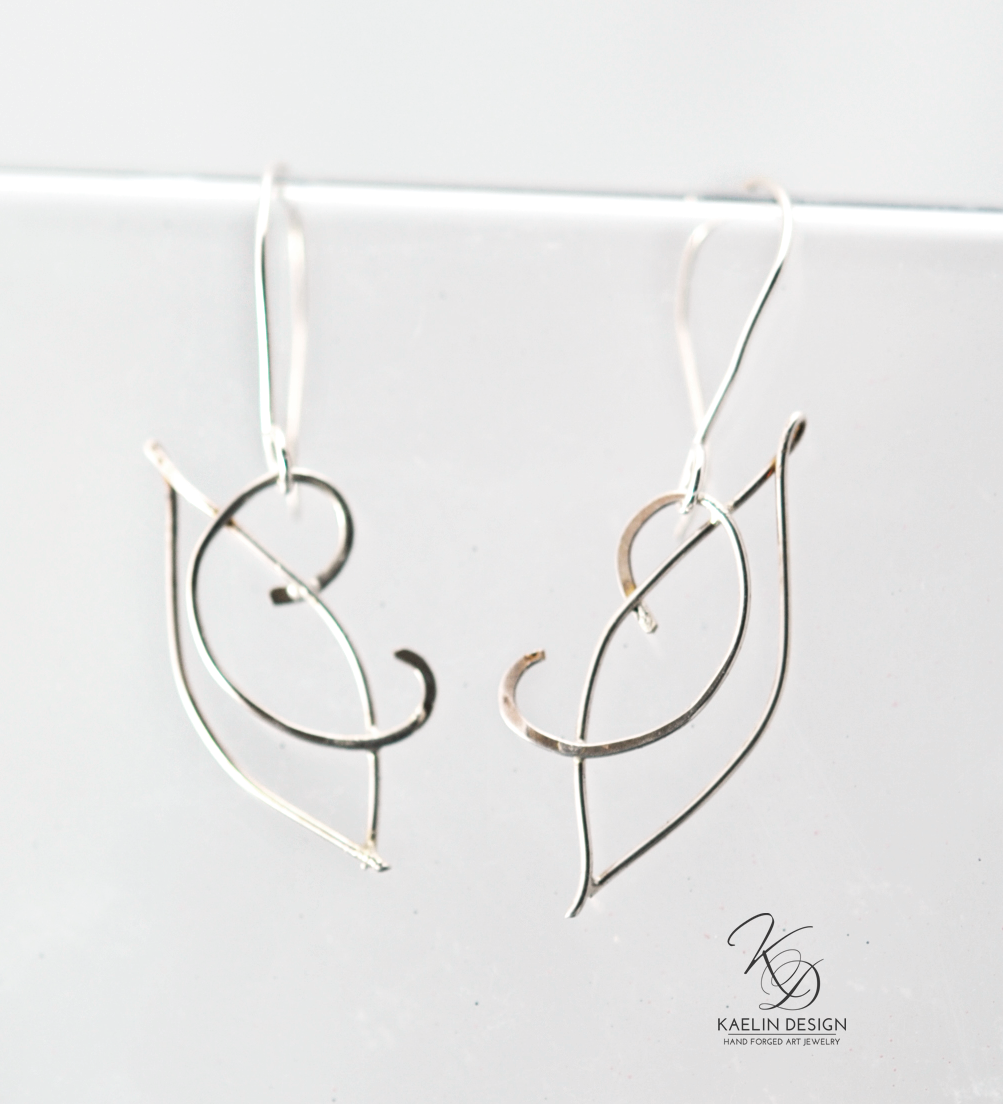 Hand Forged Filigree Leaf Earrings
