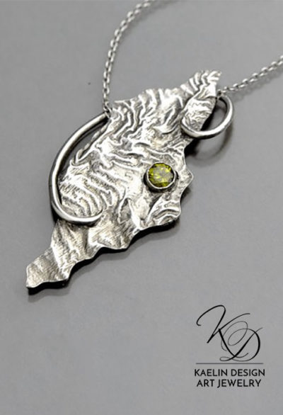 Reticulated Memories Sterling Silver and Peridot Art Jewelry Pendant by Kaelin Design