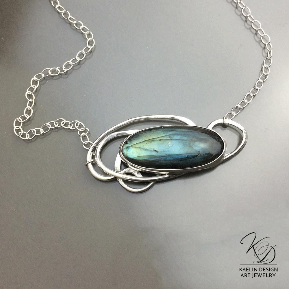 Water's Eddy Labradorite and Silver handmade pendant