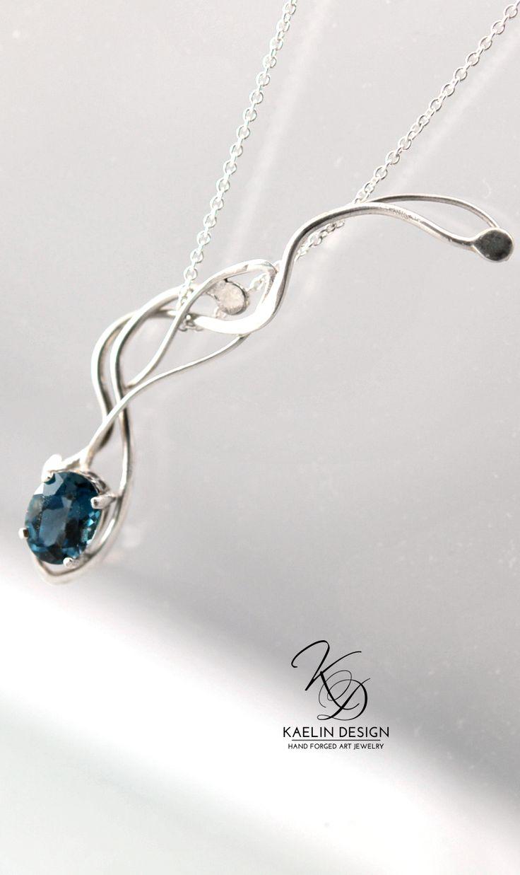 Comet's Fall Blue Topaz Pendant by Kaelin Design