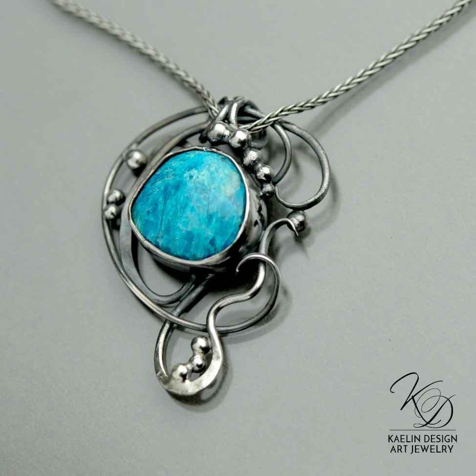 Ocean's Deep Gem Silica and Sterling Silver Art Jewelry Pendant by Kaelin Design