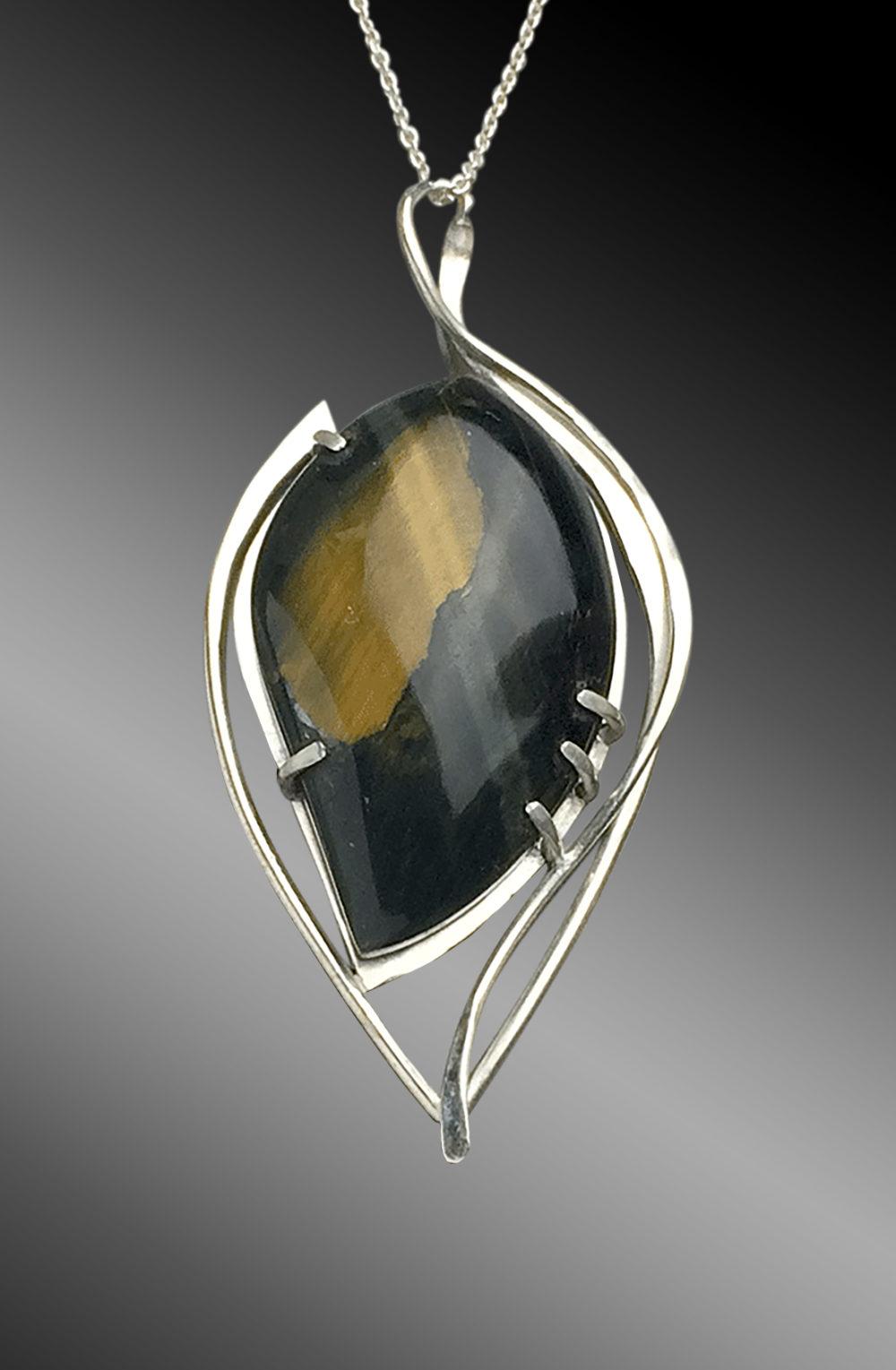 Take Flight Blue Tiger's Eye Art Jewelry Pendant Necklace by Kaelin Design Fine Art Jewelry