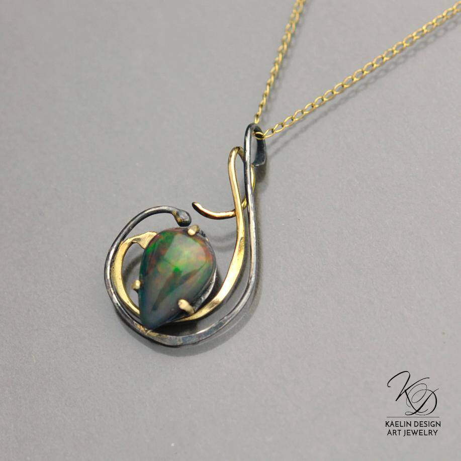 Whisper of Smoke Welo Opal and Gold Designer Pendant by Kaelin Design