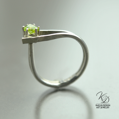 Off Kilter Asymmetrical Peridot and Silver Art Jewelry Ring by Kaelin Design