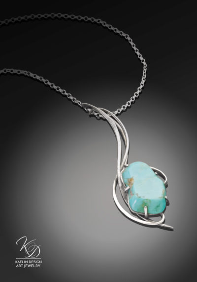 Turquoise Waves forged silver Art Pendant by Kaelin Design