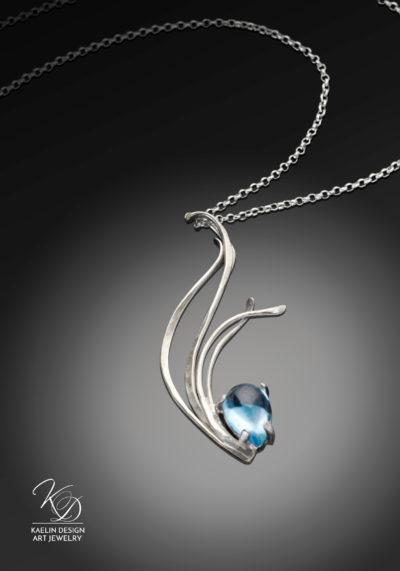Flowing Waters Blue Topaz Art Jewelry Water Pendant by Kaelin Design