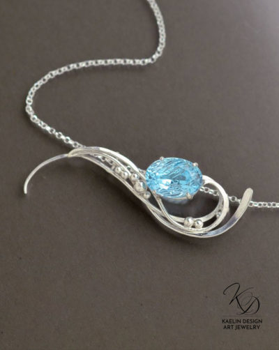 Distant Shores Hand Forged Original Art Pendant by Kaelin Design Art Jewelry