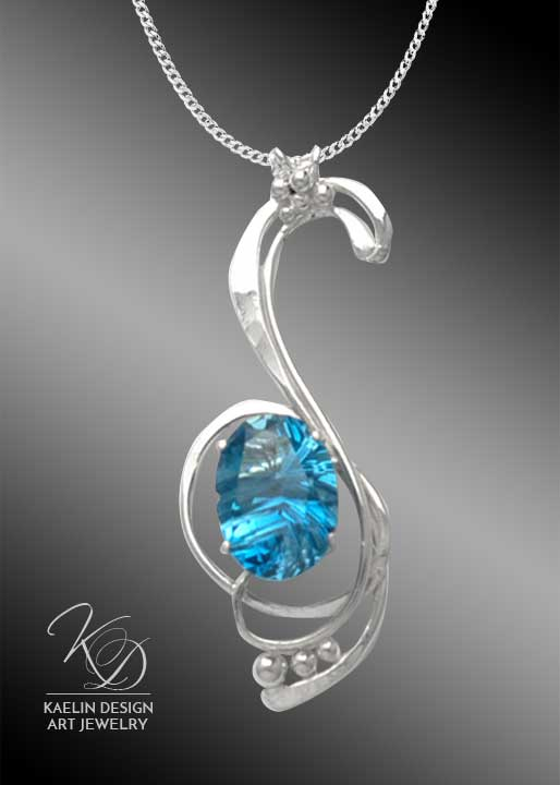 Ocean Tides Laser Cut Blue Topaz and Hand Forged Silver Art Pendant by Kaelin Design Art Jewelry