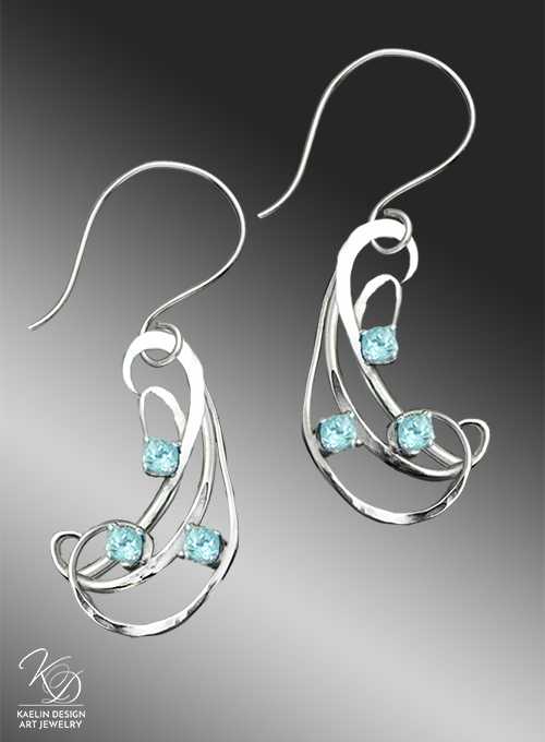 Berezan Topaz and Hand Forged Sterling Earrings by Kaelin Design Fine Art Jewelry