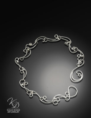 Rippling Waters Forged Sterling Silver Bracelet by Kaelin Design Art Jewelry