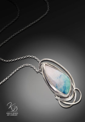 Ocean's Foam Chrysocolla Art Jewelry Pendant by Kaelin Design