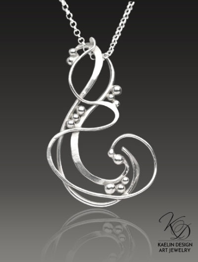 Wave Hand Forged Sterling Silver Pendant by Kaelin Design Art Jewelry