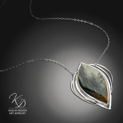 Deep Woods Jasper Art Jewelry pendant necklace by Kaelin Design Fine Art Jewelry