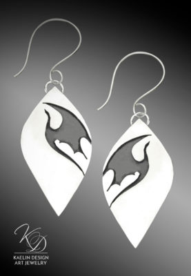 Silver Dragon earrings by Kaelin Design Art Jewelry