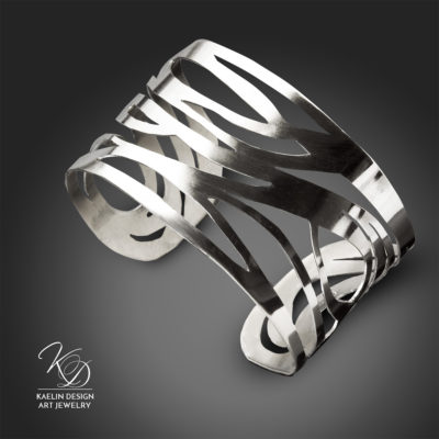 Undercurrents forged Argentium Silver cuff bracelet by Kaelin Design Fine Art Jewelry