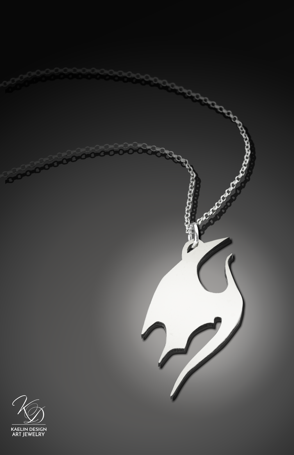 Silver Dragon necklace pendant by Kaelin Design Art Jewelry