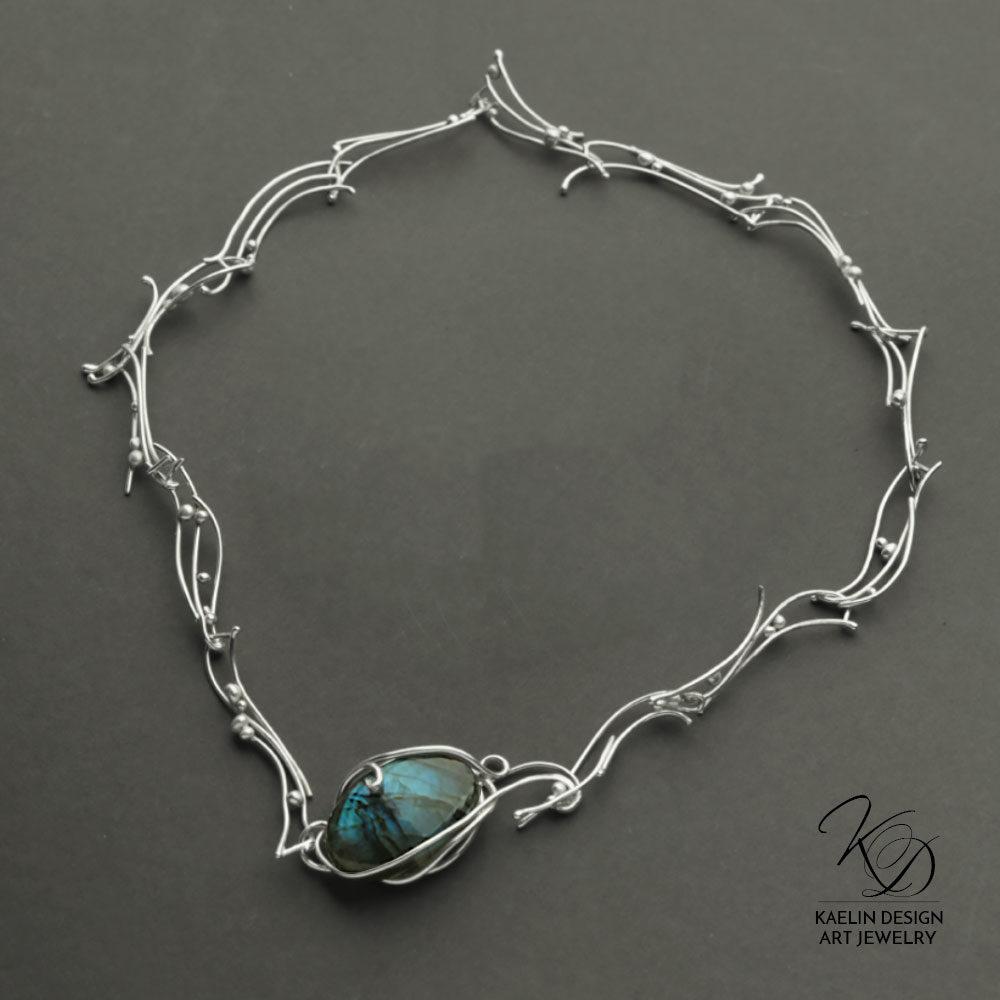 Turbulent Waters Labradorite Blue Art Jewelry Necklace