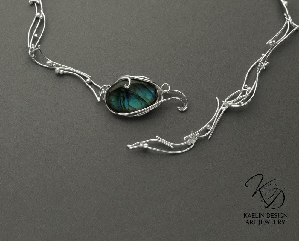 Turbulent Waters Labradorite Blue Art Jewelry Necklace Clasp