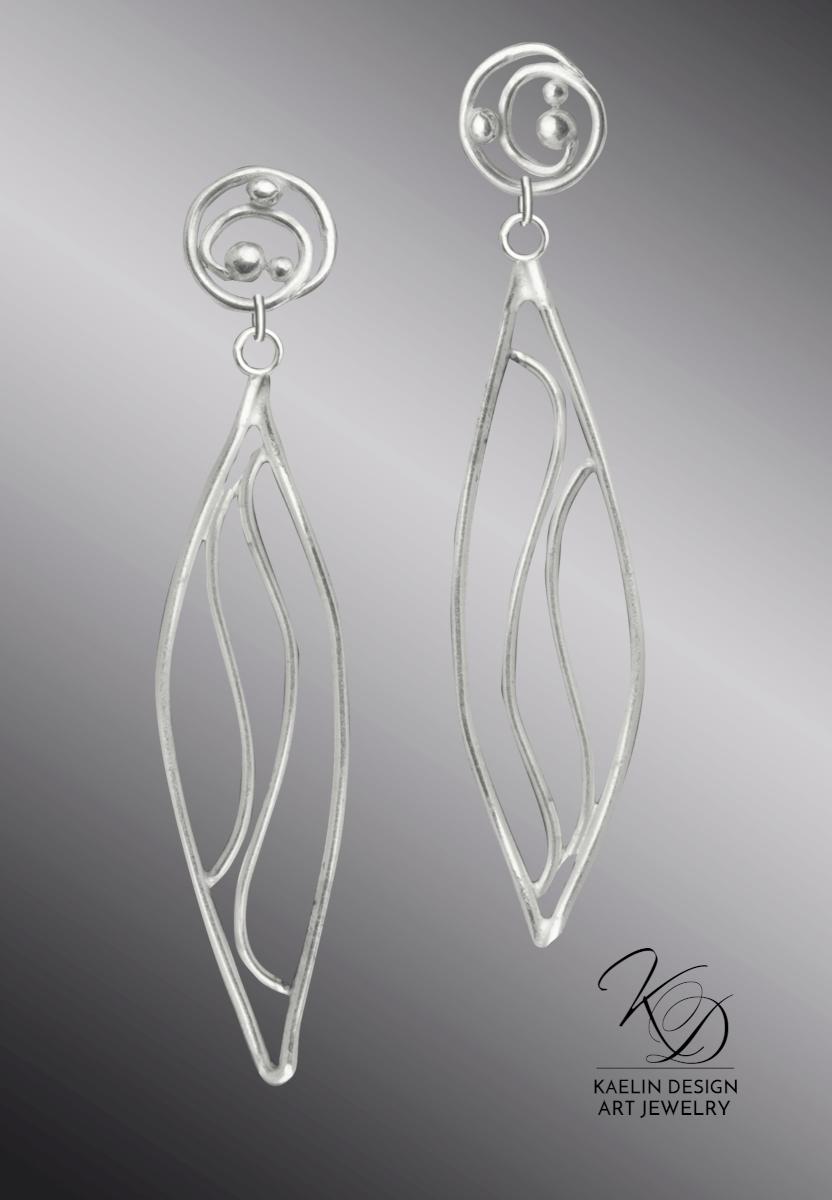 Furo Hand Forged Silver Wave Earrings inspired by Hamonshu by Yuzan Mori