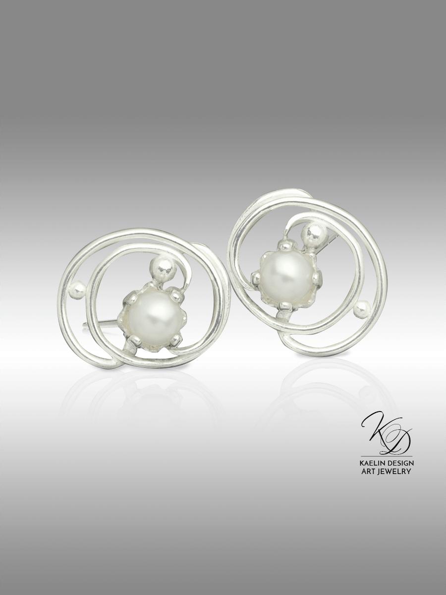 Pearl Tides Fine Art Jewelry Button Earrings by Kaelin Design