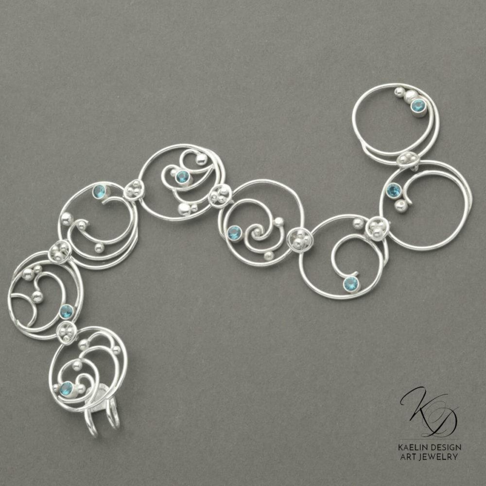 Hand Forged Sea Foam Silver Bracelet with London Blue Topaz by Kaelin Design Fine Art Jewelry