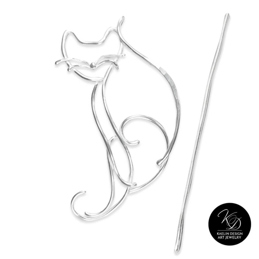 Playful Cat Shawl Pin in Sterling Silver by Kaelin Design