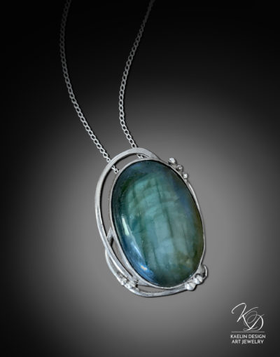 Tidal Currents Hand Forged Labradorite and Sterling Silver Art Pendant by Kaelin Design