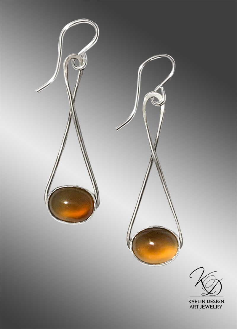 Autumn Swing Hand Forged Silver and Agate Earrings by Kaelin Design
