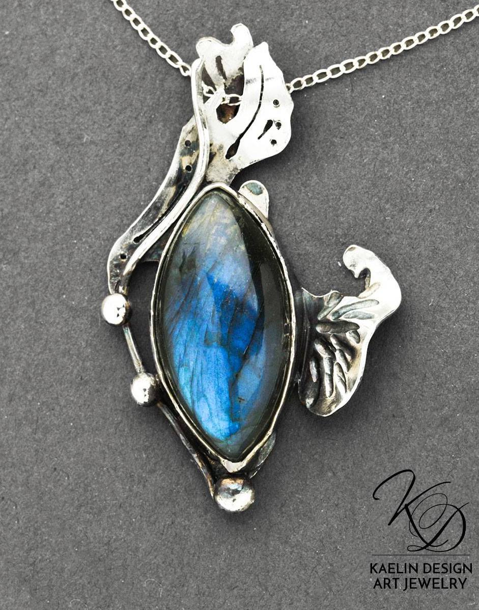Blue Waters Labradorite and Hand Forged Sterling Silver by Kaelin Design Fine Art Jewelry