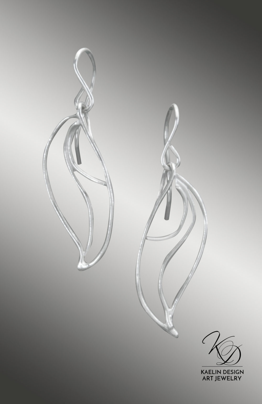 Caspian Sterling Silver Hand Forged Art Jewelry Earrings by Kaelin Design