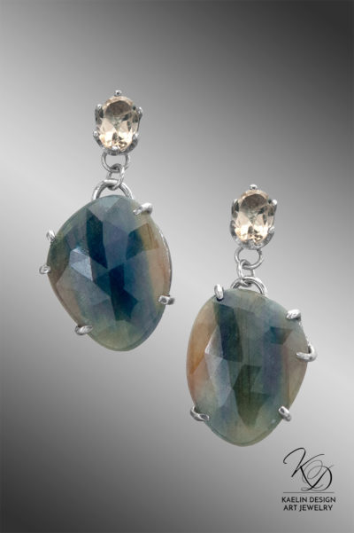 Sunlit Waters Sapphire and Citrine Fine Art Jewelry Earrings by Kaelin Design