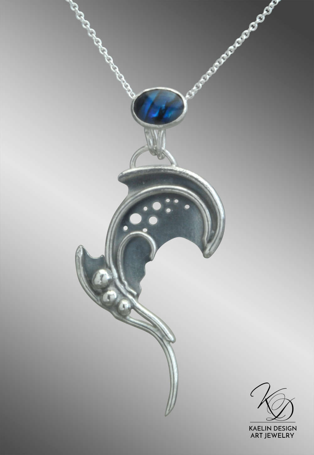 Briny Depths Sterling Silver Paua Art Jewelry Pendant by Kaelin Design