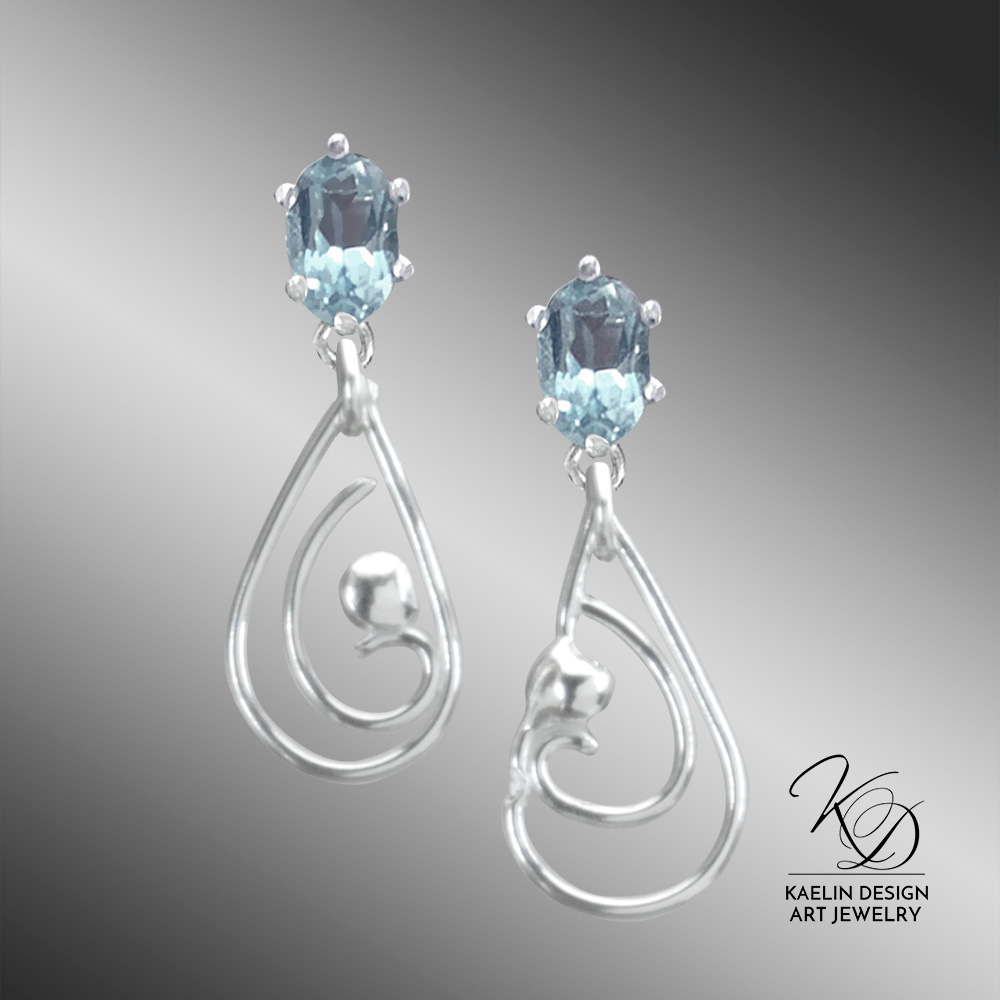 Blue Topaz Wave Earrings by Kaelin Design Fine Art Jewelry