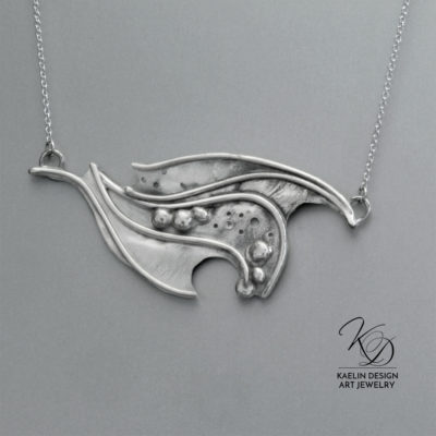 Rushing Rivers Sterling Silver Forged Water Pendant by Kaelin Design Art Jewelry