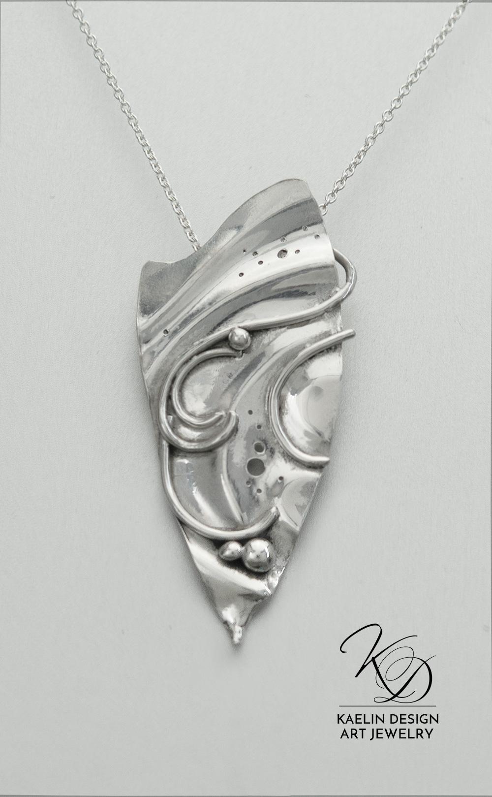 Silver Ripples Ocean Inspired Art Jewelry Pendant