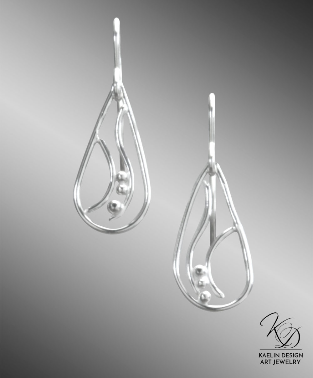 Maris Hand Forged Sterling Silver Earrings by Kaelin Design