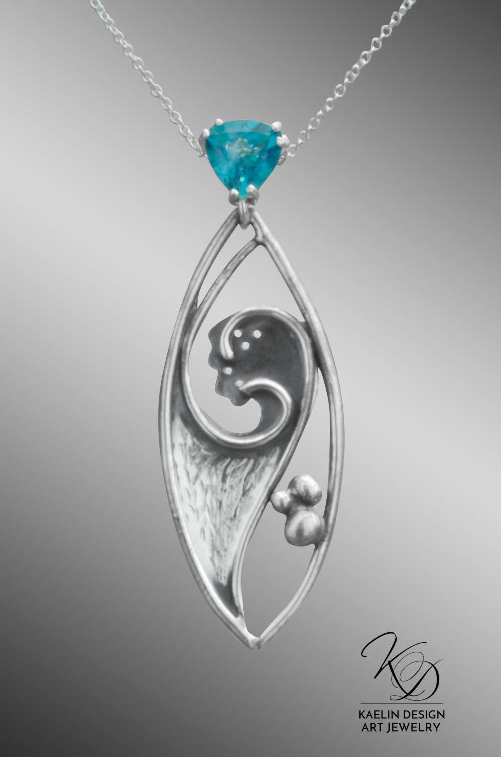Dark Seas Blue Topaz Sterling Silver Fine Art Pendant by Kaelin Design Fine Jewelry