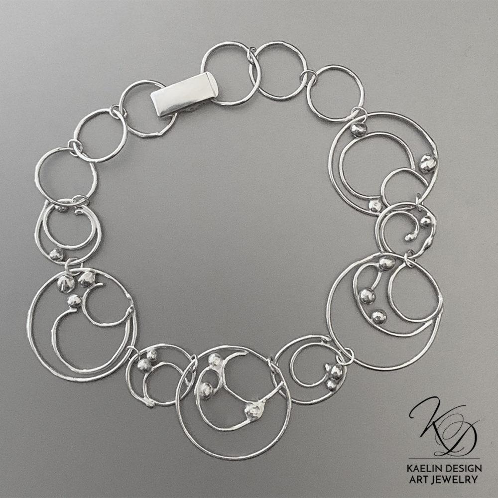 Ocean Bubbles Sterling Silver Art Jewelry Bracelet by Kaelin Design