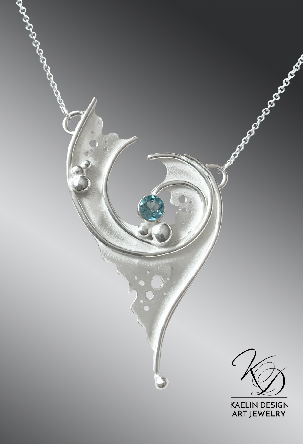 Lagoon Blue Topaz Sterling Silver Art Jewelry Pendant by Kaelin Design
