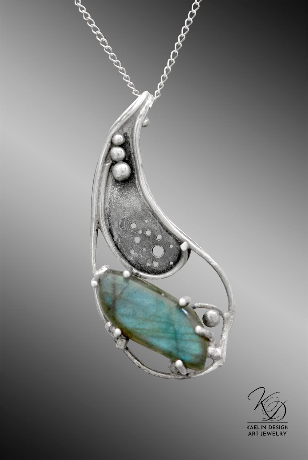 Darkening Deeps Labradorite Fine Art Jewelry Pendant by Kaelin Design