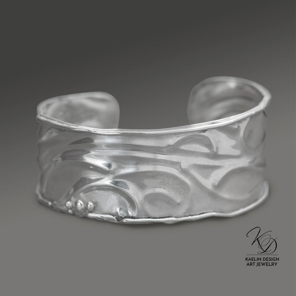 Silver Waves Sterling Silver Cuff Bracelet by Kaelin Design Art Jewelry