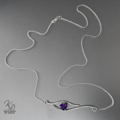 Amethyst Seas Sterling Silver Hand Forged Art Jewelry Pendant by Kaelin Design