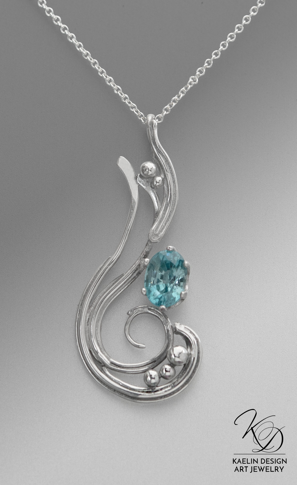 Sea Tides Apatite and Sterling Silver Art Jewelry Pendant by Kaelin Design
