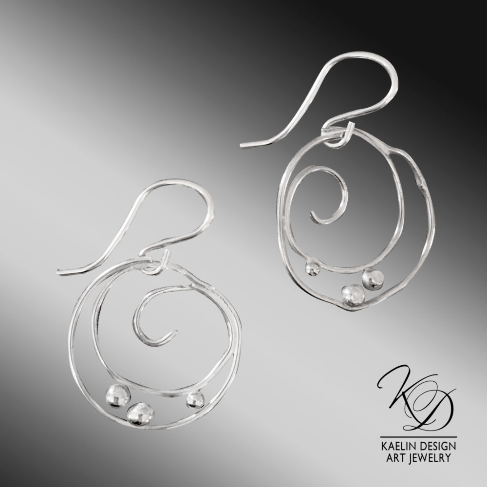 Silver Currents Sterling Silver Ocean Inspired Earrings by Kaelin Design Art Jewelry